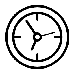 黒のアウトラインの無料アイコンを円形時計