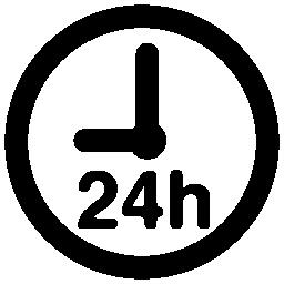 24 時間の時計の概要無料アイコン