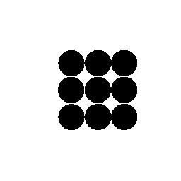 無料正方形の形のアイコンに配置された 9 つの小さな円