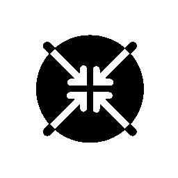 センターの無料のアイコンを指す 4 つの矢印