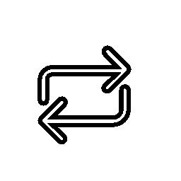 細い輪郭無料アイコンと 2 つの反対の矢印