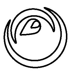 2 つの半円とドロップ形状の無料アイコンによって構成される目のような円形の形状