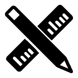 IOS 7 定規と鉛筆クロス、シンボル無料アイコンをインターフェイスします。