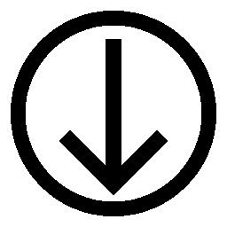 薄い概要サークル概要無料アイコン内の下向きの矢印