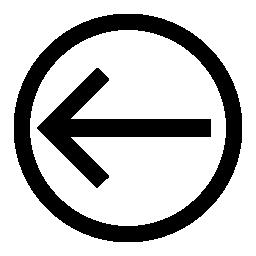 サークルのアウトラインの内側の左を指す矢印無料アイコン
