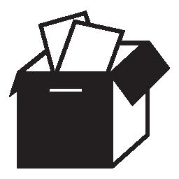論文無料のアイコンでいっぱい開いているボックス