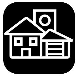 家の黒い正方形の背景無料アイコンを白いアウトラインを構造します。