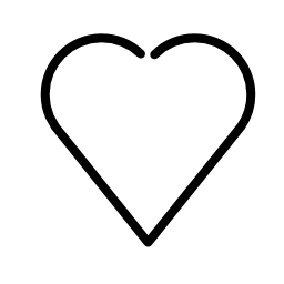 ハート型の白いアウトライン無料アイコン
