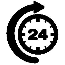 曲線矢印無料アイコンで 24 時間の時間
