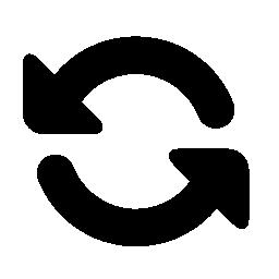 2 つのカーブ矢印お互い無料アイコンが直面しています。