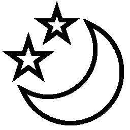 無料のアイコンは 2 つの三日月形の月も星します。