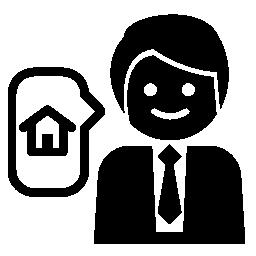 ビジネスマンの家について話しています。不動産無料のアイコン