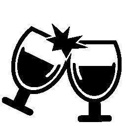 カップルお祝い無料アイコンをワイングラスします。