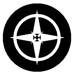 4 つの丸い盾無料アイコンを星を指摘しました。