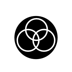 センターの無料のアイコンに重なっている 3 つの円