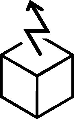 キューブの輪郭形状の無料アイコンから昇順の矢印