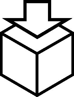 キューブ概要無料のアイコンの下矢印