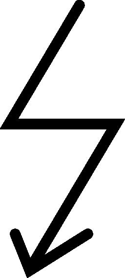 ボルト形状の無料のアイコンに下向きの矢印の線