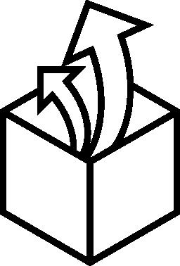 キューブを開くボックス アウトラインの無料アイコンの内部から昇順矢印カップル