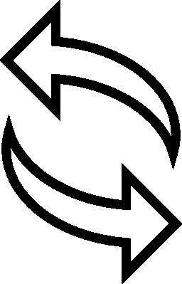 矢印カップル ポインティングの右と左の無料アイコンを概要します。