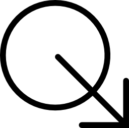 無料の円のアウトラインの中心からすぐに下向きの矢印アイコン