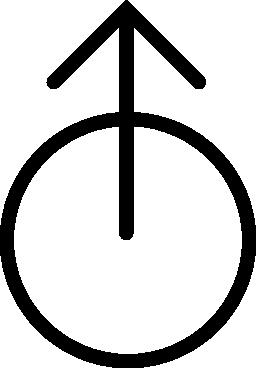 矢印アップ アウト サークル概要無料アイコンの中心から