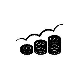 上昇ドル コイン スタック無料アイコン