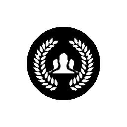 無料のアイコンを円形の黒い背景に花輪を捧げるとユーザー グループ