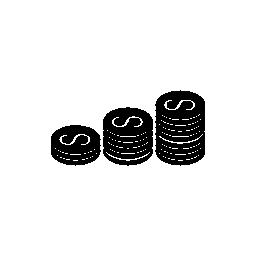 ドル硬貨無料アイコンのスタックを増加