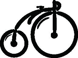 大きな車輪無料アイコンとビンテージ バイク