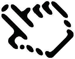 手の輪郭の無料アイコンを指しています。