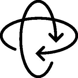 無料の交差角の丸い矢印のアイコン