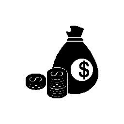 コイン スタック ドルお金袋無料アイコン