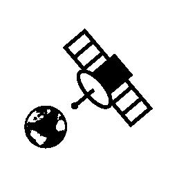 地球と宇宙衛星ステーション ビューで無料のアイコン