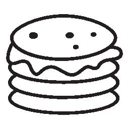 ダブルパテ バーガー シルエット無料アイコン
