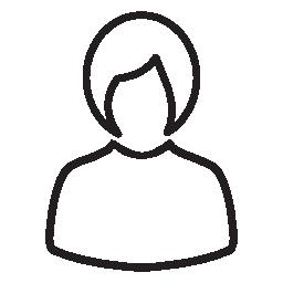 短い髪のシルエットの無料のアイコンを持つ女性