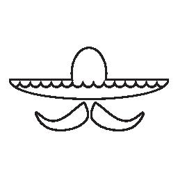 メキシコの帽子と口ひげで、IOS 7 インタ フェース シンボル無料アイコン