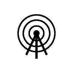 信号の無料アイコンが付いた衛星放送タワー