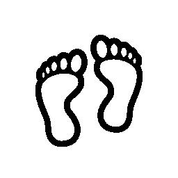 人間の足跡の輪郭の無料アイコン