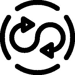 壊れたサークル概要無料アイコンの回転二重矢印