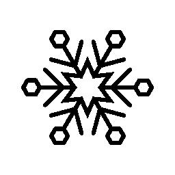 星と六角形のアウトラインの無料アイコンとスノーフレーク バリアント