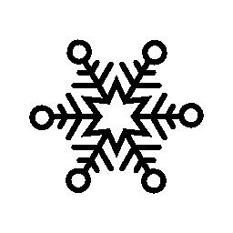 6 ポイント星と円概要無料アイコンと雪のフレーク