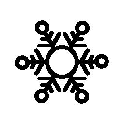 円形の図形の輪郭の無料アイコンとスノーフレーク