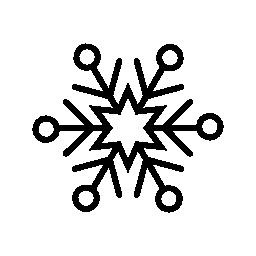 6 ポイント星と円とスノーフレーク図形無料アイコン