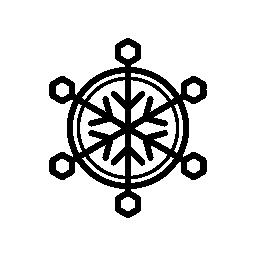 スノーフレーク円形六角形と細い線を持つ無料のアイコン