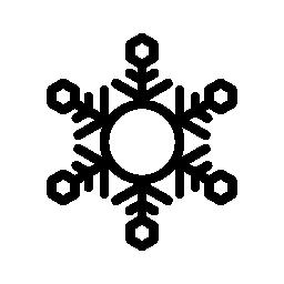 スノーフレーク サークルと六つの六角形の無料アイコン