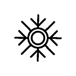 2 つの中央の円と細い線無料アイコン スノーフレーク