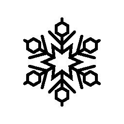 無料アイコンの中央星とスノーフレークとそれのまわりの六角形と線