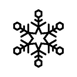 六角形のスノーフレーク無料アイコンの中心に六つのポイント スター