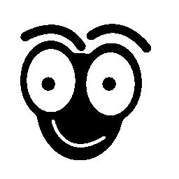大きな目の絵文字無料アイコンと笑顔